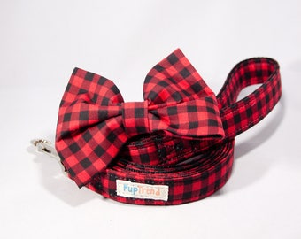 Buffalo Plaid Dog Leash//Buffalo Plaid Dog Bow Tie//Buffalo Plaid Dog Lead//Christmas Dog Leash//Christmas Dog Bowtie//