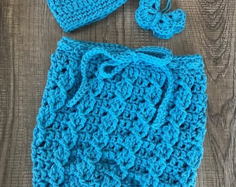 Crochet Blue Cabled Baby Swaddle Sack Newborn