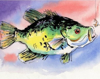 ORIGINAL Fish Watercolor Painting Art: Black Crappie by Barry Singer