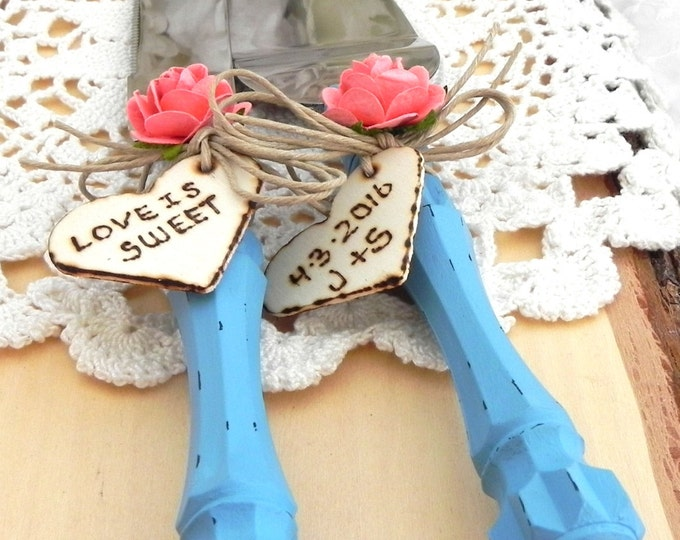 Rustic Chic Wedding Cake Server And Knife Set, Turquoise and Coral, Bridal Shower Gift, Wedding Gift