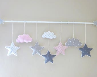 Almon and grey - pink stars cloud mobile to order