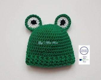 CROCHET PATTERN/Crochet Baby Frog Beanie Pattern/PDF Pattern
