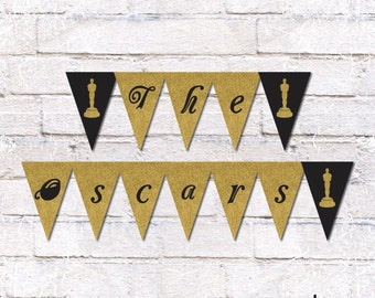 Oscar Party Flag Bunting - Academy Awards. Oscar Party Decor. Flag Bunting. Film Party. Print Yourself. *Instant Download*