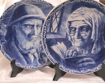 Vintage Delft / Belgium Blue Delft  Porcelain Transferware Charger Plates