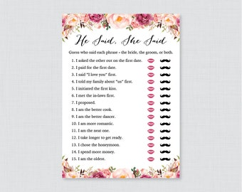 Rustic Floral Bridal Shower He Said She Said Game - Printable Garden Bridal Shower Game Guess Who Said It - Pink Shower Phrases Quiz - 0024