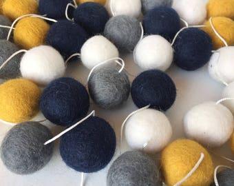 Quality Felt Ball Garland - Mustard -Grey-Navy -White- Nursery Decor- Pom Pom Garland