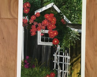 The Shed, This cozy Cape Cod shed is nestled in a shady nook and is adorned with blooming vines. Print by The Praying Painter