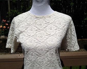 SALE White lace 90's top tshirt medium large