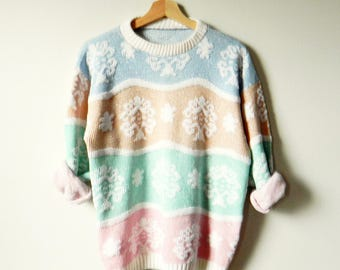 Pastel Kawaii Vintage Sweater / Mint Green and Pink Pastel / Vintage Pastel Sweater / Fun Vintage Statement Sweater