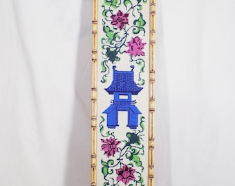 Completed Needlepoint Picture Pagoda Flowers 8 x 43 Asian Art