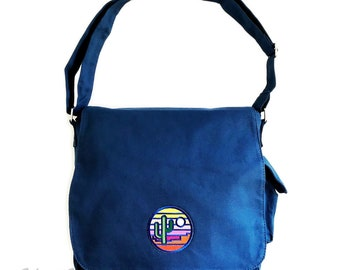 Stained Glass Sunset : Patched Messenger Tote