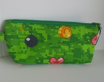 Emoji pencil pouch in green, emoticon zipper pouch, emoji cosmetic bag