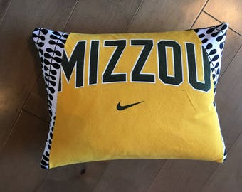 University of Missouri Tigers Upcycled T-Shirt Pillow (12x16)