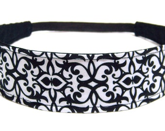 Black & White Floral Headband, Reversible Fabric Headband, Headbands for Women - KATE