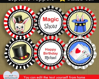 Magic party Cupcake Toppers / INSTANT DOWNLOAD cute Magician magical theme birthday party printable #P-8 / You can edit text from home