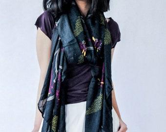Asian Bamboo Scarf - Black - Yellow - Purple