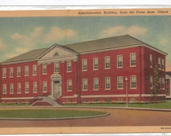 "Illinois, Vintage Postcard, ""Administration Building, Scott Air Force Base, Illinois,"" 1940s, #864."