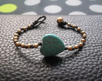 Single Gold brass beads Heart turquoise Bracelet summer gift collection from Thailand/Heart bracelet/handmade bracelet/simple bracelet/Bohem