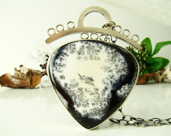 Dendrite Opal Necklace , Pendant , Sterling Silver 925,Oxidised,Handmade