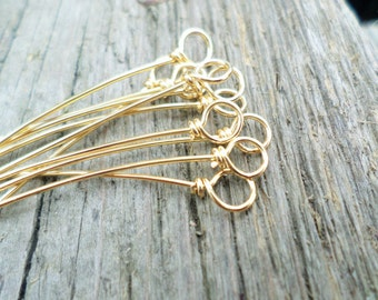 Wrapped Loop Eye pins Solid NuGold, Copper, Oxidized Copper or Sterling  22g 10pcs Hand-forged