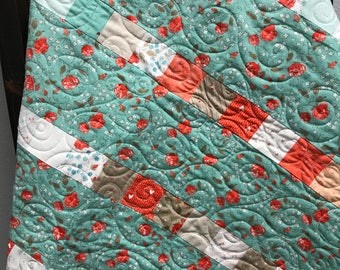 Handmade Baby Quilt - Baby Girl Quilt - Teal/Coral/Off White - 35.5 x 40 inches