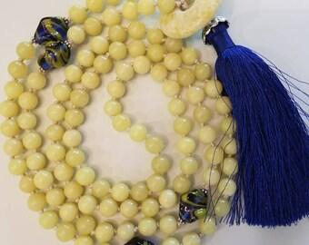 Prayer Mala. 108 Hand-knotted yellow jade beads with hand-made glass marker beads. Jade ring guru bead. Intentional meditation