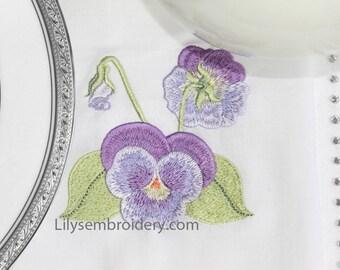 Machine Embroidery Design - Pansy # 3  Machine Embroidery Design