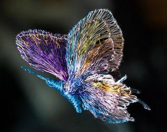 Blue purple butterfly brooch, large brooch, wire sculpture art to wear, modern hippie, Christmas, unique wedding gift women, creative design
