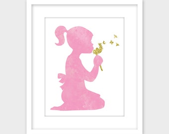 Girls Room Decor Printable Art, Pink Nursery Decor Wall Art Print, Girl with Dandelion Instant Digital Download Nursery Print
