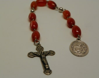 St. Anthony/St. Francis/ St Christopher Niner chaplet with Rust colored glass beads(CH1AB)