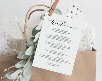 Editable Template - Instant Download Soft Calligraphy Wedding Weekend Welcome Itinerary