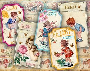 Ticket for my Garden - digital collage sheet - set of 5 strips  - vintage image