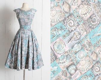Vintage 1950s Dress | vintage 50s Waverly Nautilus fabric seashell novelty print | gray turquoise bead | cotton dress sun summer  | medium