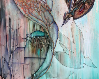"""Original Art Print, Woman Dreaming, colorful bird flying, feather eyelashes, teal, 11 x 14"""", 16 x20"""""""