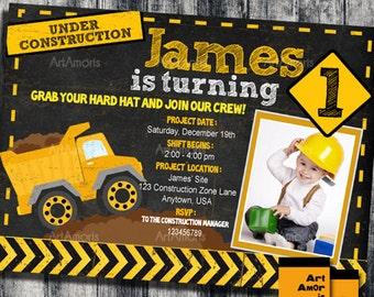 Dump Truck Birthday Invitation Construction Birthday