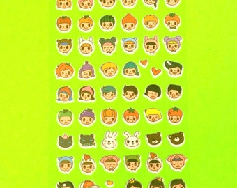 Cartoon Emoji Faces Fruit Head Cute Super Kawaii Kitschy Kyuuto Puffy Vinyl Sticker Set