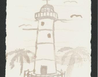 "Wine Staining ""Biloxi Lighthouse"" #7 by M.W. Stuart"