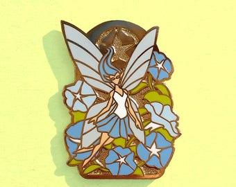 Flower Fairy Pin / Morning Glory Flower Pin / Blue Pin / Hard Enamel Pin / Art Nouveau Pin / Flower Gift / Lighter Skin / Kawaii Pin