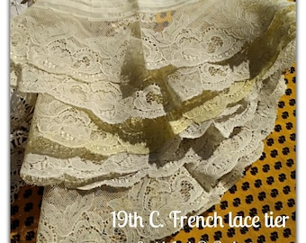 Victorian Tulle Lace Tier with Bastiste White Floral Cotton Net Lace Sewing Project Bridal #sophieladydeparis