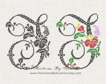 Large Antique Floral Monogram - Machine Cross Stitch Embroidery - Tropical Flower Initial - Cross Stitch Font - Floral Font I-J - HBS-61-I-J