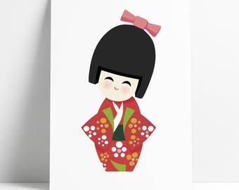 KOKESHI White Back Poster; Japanese Art by Kokizo Design