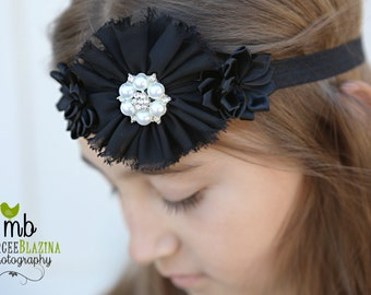 Black headband, Baby headbands, flower headband, flapper style headband, Prom headband, Easter Headband ,baby girl headband.