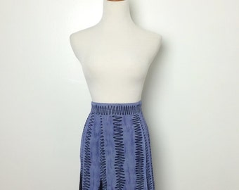 Vintage Blue and Black Squiggly Print Godet Mini Skirt/ Xsmall Small