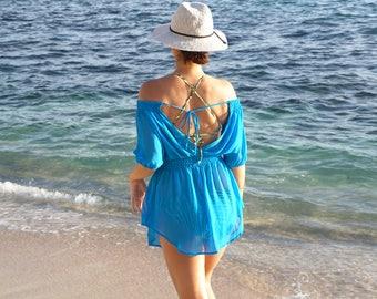 Swimsuit Cover-up, Beach Cover-ups, Swim Cover-ups    Smocked Off-The-Shoulder Tunic Dress    Swimwear, Resort wear, Beachwear    {Isla}