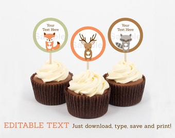 Woodland Forest Animal Cupcake Toppers / Party Favor Tags / Party Circles INSTANT DOWNLOAD Editable PDF A187
