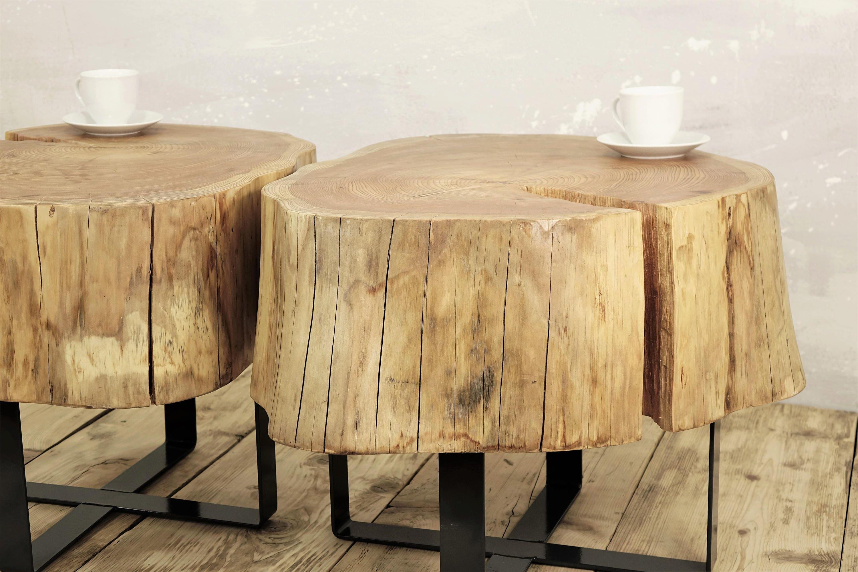 twin stump coffee table on metal base slab coffee table natural top