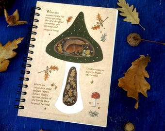 Nature Notebook. Red Squirrel-Toadstool -Spiral Bound A6/C6 size/100 Plain Pages By Karen Davis