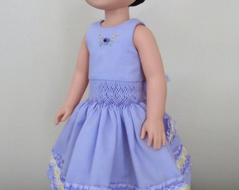 "14 1/2"" doll like Wellie Wisher English smocked dress and matching sandals, Monica Minto"