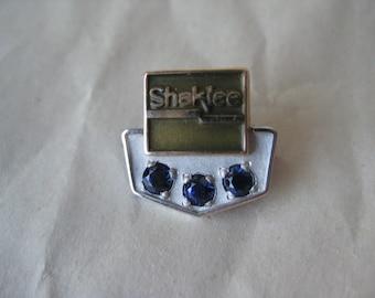 Shaklee 10K Solid Gold Pin Lapel Brooch Blue Stone Vintage Karat KT 20 Year Sapphire