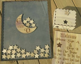 Moon and star Guest Book Wedding Moon And Star Guest Book Alternative Personalized Drop box Alternative GuestBook Unique Guestbook Birthday